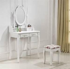 Coiffeuse Meuble Blanc : coiffeuse 2 tiroirs avec table de maquillage ~ Teatrodelosmanantiales.com Idées de Décoration