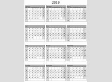 One Year Calendar 2019 Template Free Printable 2018