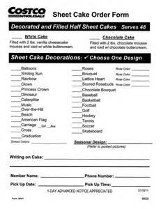 Costco Cake Order Form