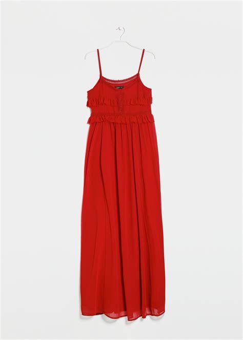 mango crochet long dress  red lyst