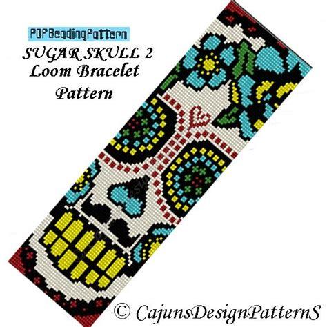 sugar skull 2 loom dia de los muertos day of the dead beaded bracelet cuff pattern instant