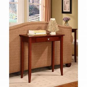 Compact, Small, Space, Rosewood, Brown, Wood, Entryway, Tall, Console, Table, With, Drawer, 691160860698