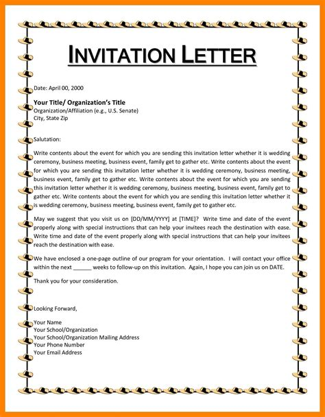 invitation format  cultural event valid letter format