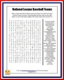 Baseball Teams Word Searches Printable