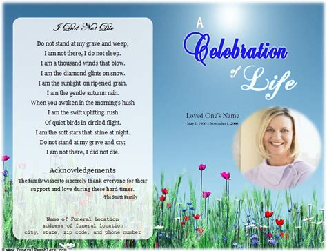 free celebration of program template single fold memorial program funeral phlets