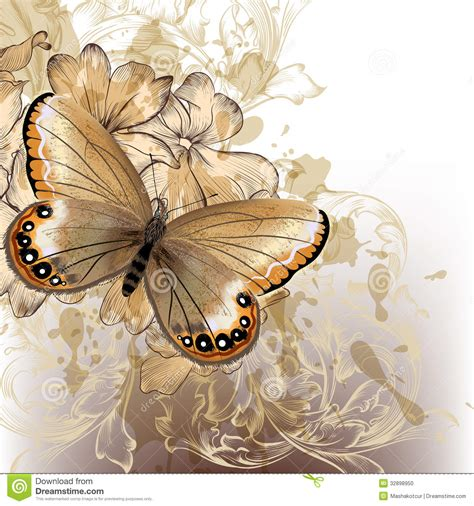 Cute Wedding Decorations by Cute Stylish Floral Background With Butterfly Stock Photo