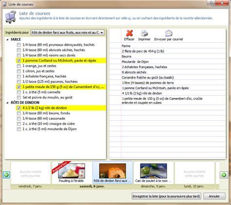 logiciel recette cuisine version 1 6 gestion de la liste de courses logiciel