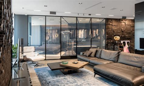 Moderne Dekoration Wohnung by This Modern And Masculine Apartment Has A Smart Glass Wall