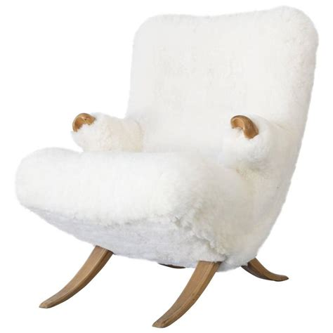 organic design lounge chair with sheepskin 1950s for sale