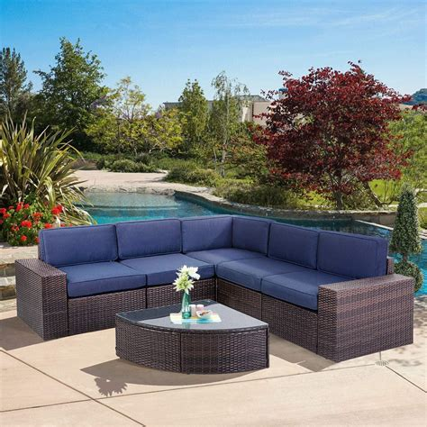L214s4236navy 42 stainless steel u.s. SUNCROWN Outdoor Furniture 6-Piece Patio Sofa and Wedge Table Set, All-Weather Brown Wicker with ...