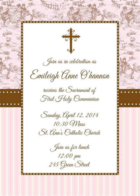 Printable First Holy Communion Invitation by by