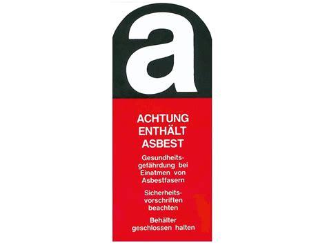 enviro warn aufkleber achtung enthaelt asbest asup