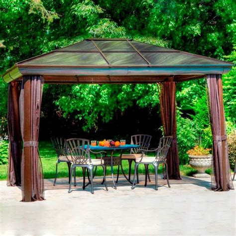 this chocolate gazebo includes curtains for shade it