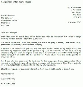 resignation letter  due  illness toresigncom
