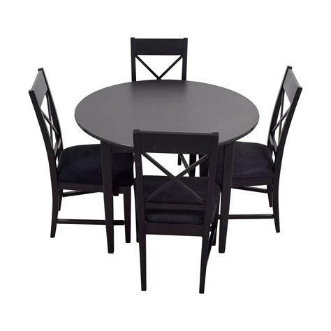 81% Off  Round Black Wood Dining Set Tables