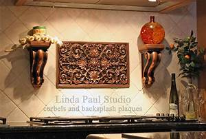 kitchen backsplash plaques ravenna decorative tile medallion With kitchen cabinets lowes with large gold metal wall art