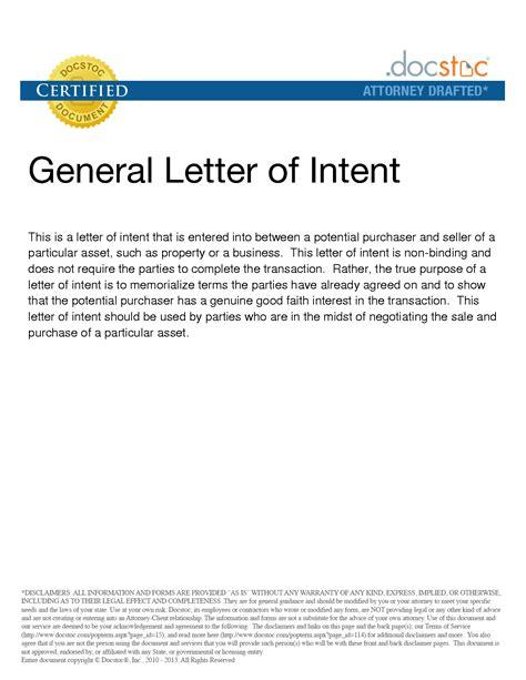 business letter  intent letter