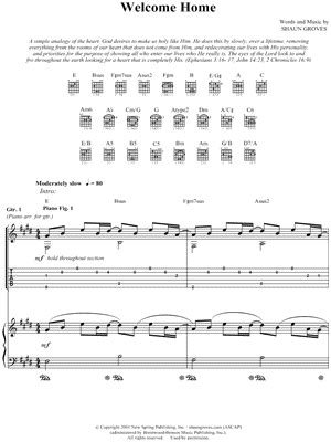 """Shaun Groves """"welcome Home"""" Guitar Tab  Download & Print"""