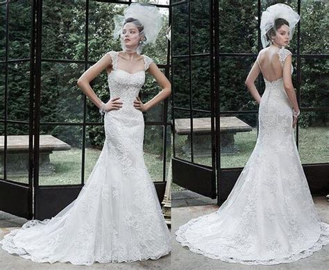 New 2016 Backless Wedding Dresses Applique Beaded Court