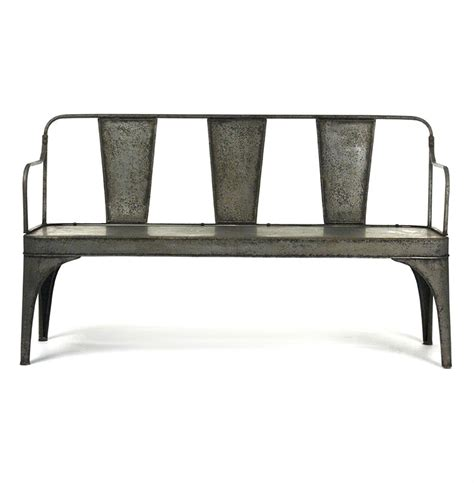 French Vintage Reproduction Art Deco Metal Cafe Bench