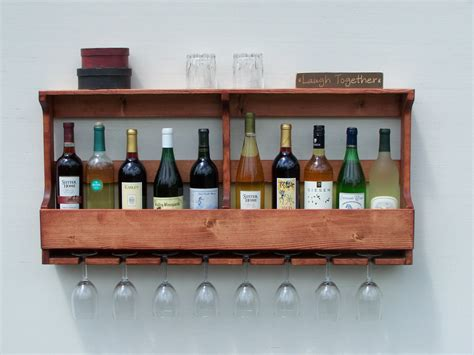 Rustic 10 Bottle Wall Mount Wine Rack With 8 Glass Holder Red