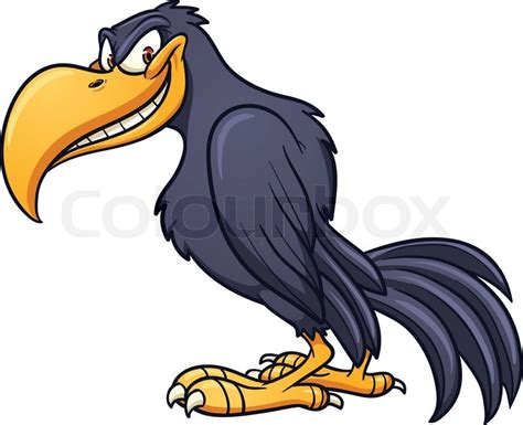 Evil Cartoon Crow. Vector Clip Art Illustration With