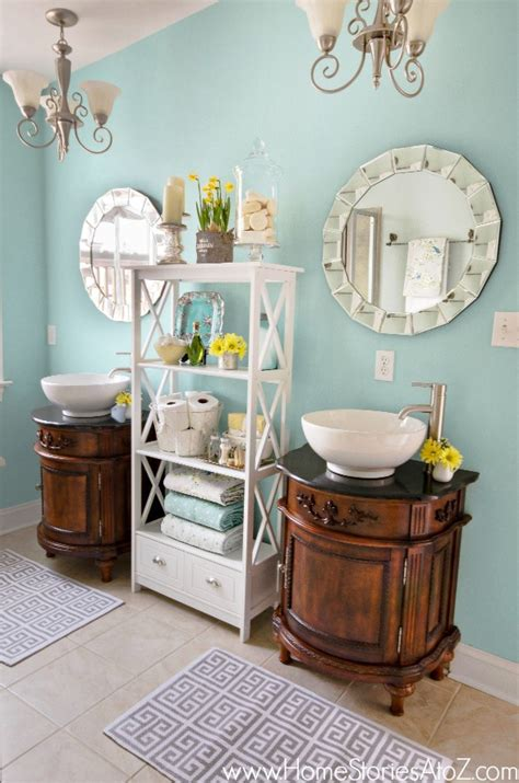 sherwin williams watery bathroom makeover home stories