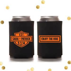 wedding favor koozies enjoy the ride harley davidson custom koozie wedding