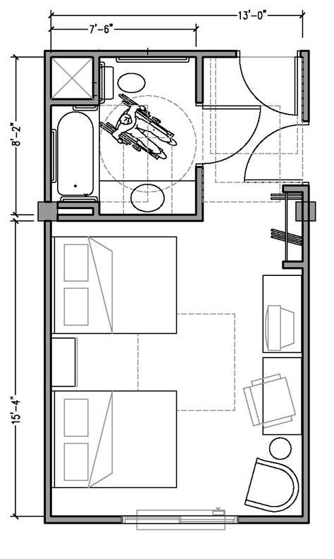 PLAN 1b: ACCESSIBLE 13 ft wide hotel room based on 2004