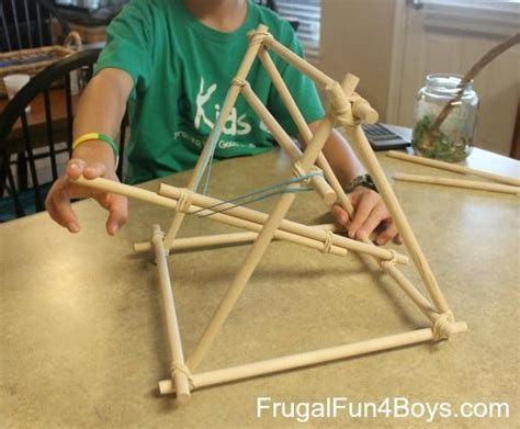 build  catapult   dowel rods  rubber bands
