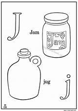 Coloring Jam Jar Jug Alphabet Abc Sheets Template sketch template