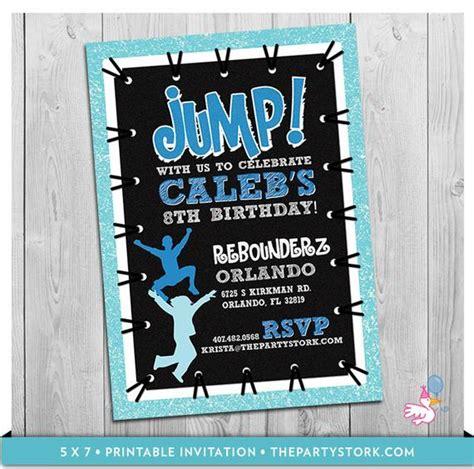trampoline party invitation custom printable boys jump