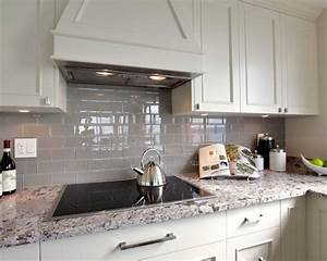 grey glass tile backsplash home design ideas pictures With kitchen colors with white cabinets with stick peel off wall art