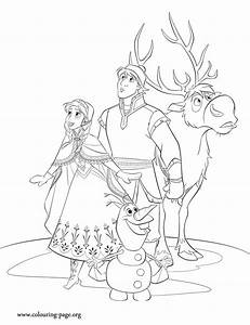 Frozen - Anna, Kristoff, Sven and Olaf coloring page