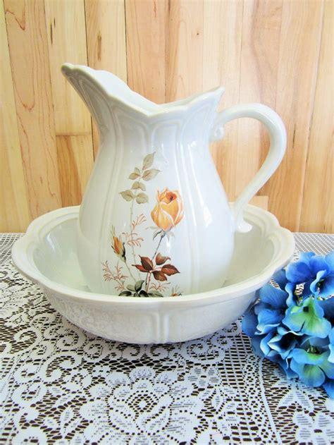 Charming Vintage McCoy Rose Blue Glaze Water Pitcher and
