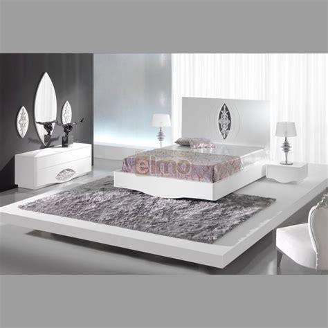 chambre meuble blanc chambre adulte complète moderne laque blanc et argent artic