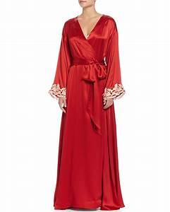 lyst la perla maison lace trim long robe in red With robe la perla
