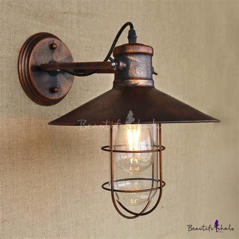 single light antique copper nautical wall sconce with cage