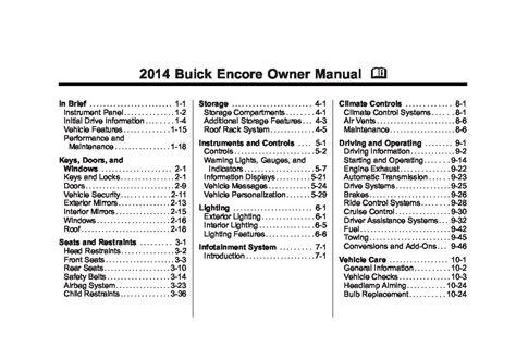 Buick Owners Manual by 2013 Buick Encore Owners Manual Just Give Me The Damn Manual