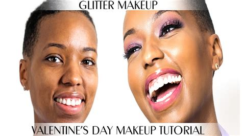 glitter glam makeup tutorial  black women beginners