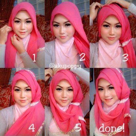 tutorial hijab simple pashmina bahan licin pesta gaya hijab  model pakaian hijab