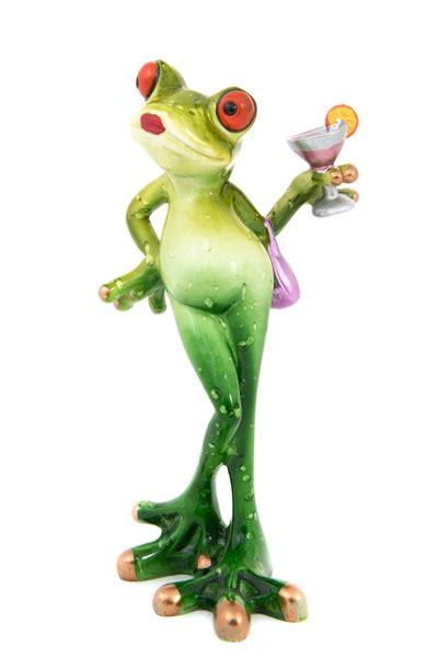 lady frog holding  cocktail globe imports