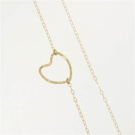 hammered l base 14k gold open heart necklace hammered heart in yellow or