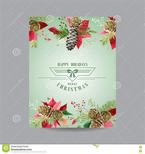 Vintage Poinsettia Christmas Card Winter Background