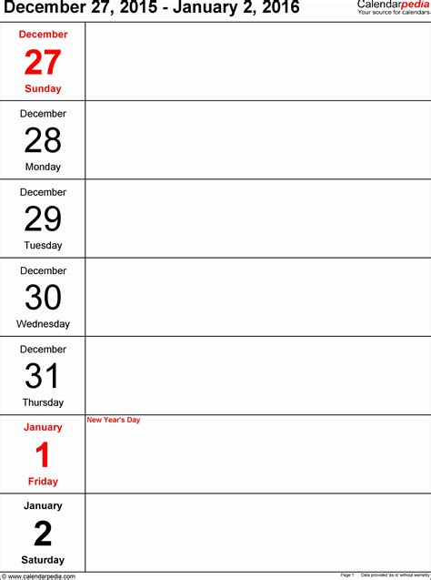 10 Blank Weekly Calendar Template Excel - SampleTemplatess ...