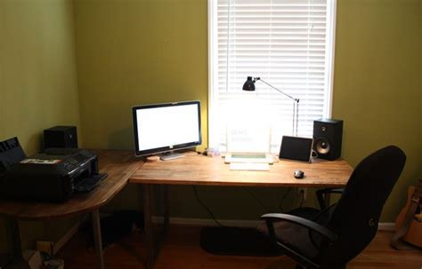 ikea gerton table top hack corner desk made out of two