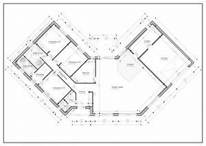 Plan Maison U : plan maison plain pied en u de ossature bois projet e pour ~ Dallasstarsshop.com Idées de Décoration