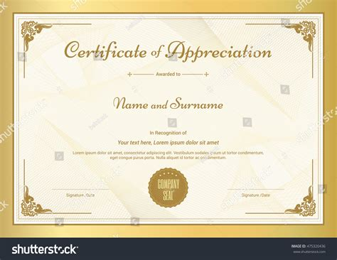 Certificate Of Thanks Template by Certificate Appreciation Template Vintage Gold Border