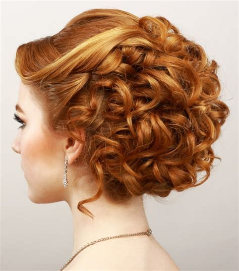 Curly prom updo hairstyle for diamond & oval faces 2018