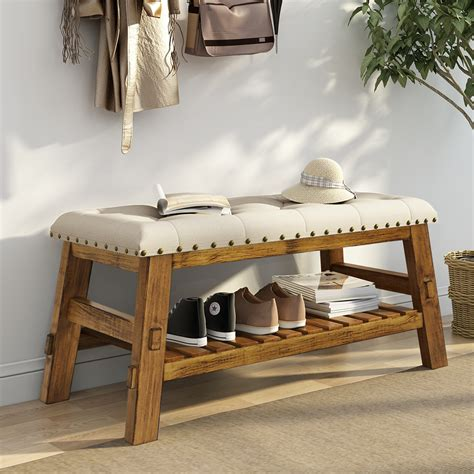 Upholstered Shoe Storage Bench by 40 Quot Entryway Storage Bench Tribesigns Shoe Bed Bench With